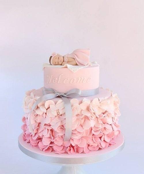 Sleeping Baby Christening Cakes for Girls