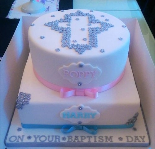 2 Tier Baptism Cakes for Twins