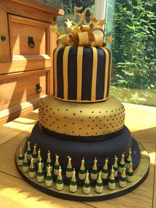 Black And Gold With Wine Bottles 50th Birthday Cakes For Her