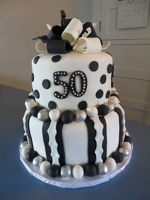 Black, White and Silver Balls 50th Birthday Cakes for Her