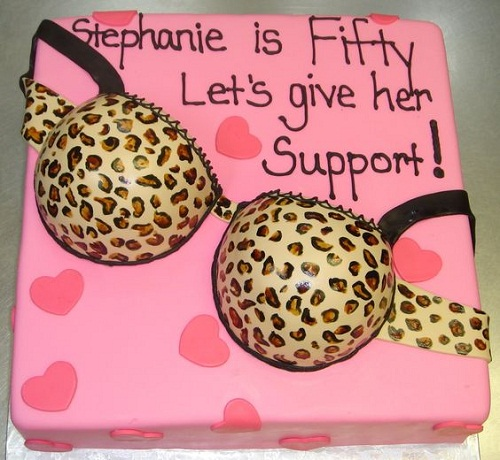 Naughty Bra 50th Birthday Cakes for Her