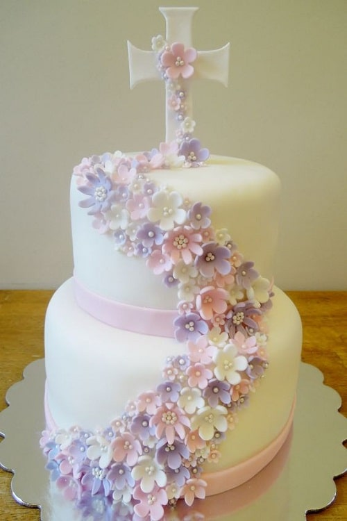 Cross with Falling Flowers Christening Cakes for Girls