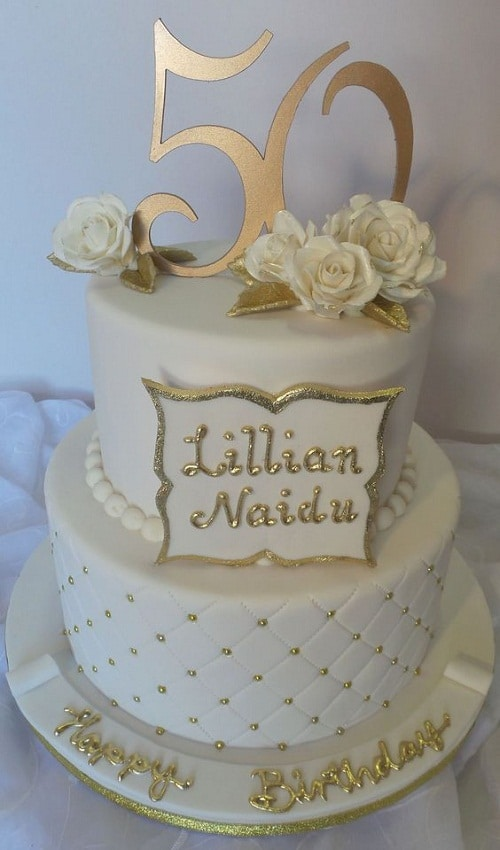 Elegant White And Gold 50th Birthday Cake