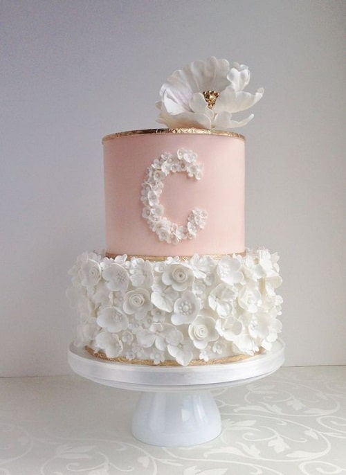 Pink Brown And White Baby Shower Cakes