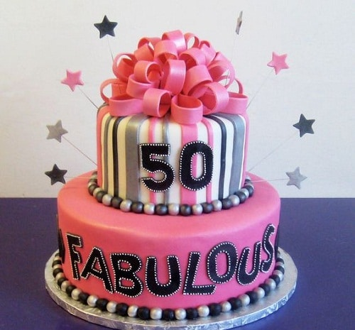 Fabulous Ribbons and Stripes 50th Birthday Cakes for Her