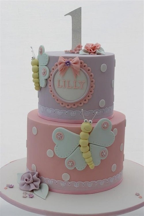 Heart-Winged Butterflies Birthday Cakes for Girls