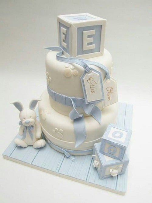 Letter Blocks Christening Cakes for Boys