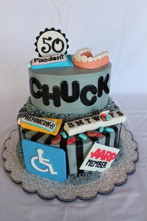 Maintenance Medicine And False Teeth 50th Birthday Cakes For Men