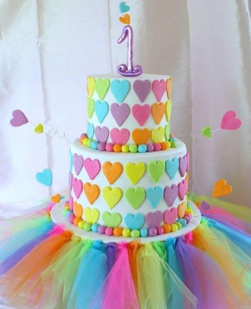 Rainbow Hearts with Tutu Birthday Cakes for Girls