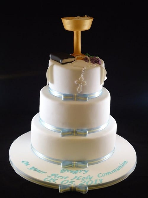 Rosary and Bible Baptism Cakes for Boys