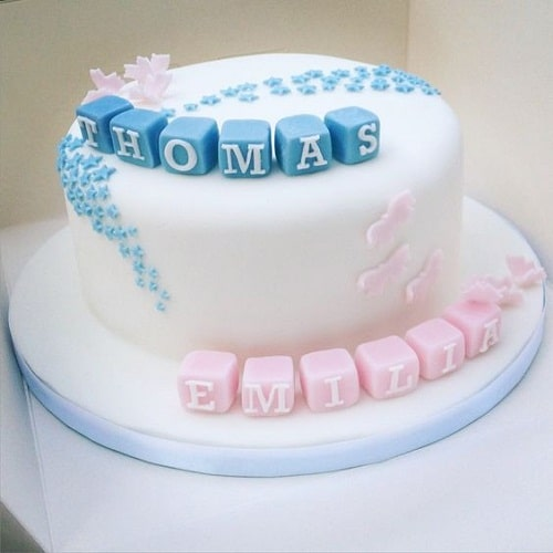 Simple Baptism Cakes for Twins