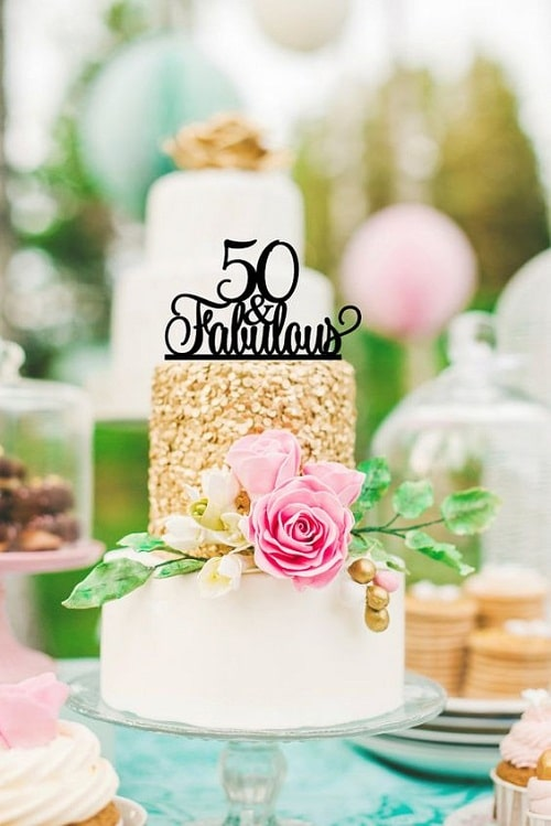 Simple Elegant And Fabulous 50th Birthday Cake