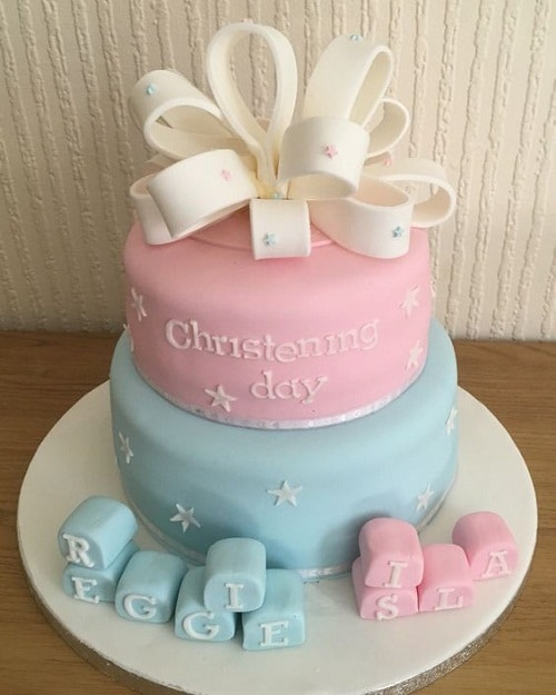 Stars and Ribbon Christening Cakes for Twins