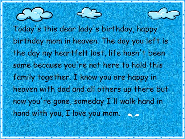 Mom In Heaven Birthday Wishes