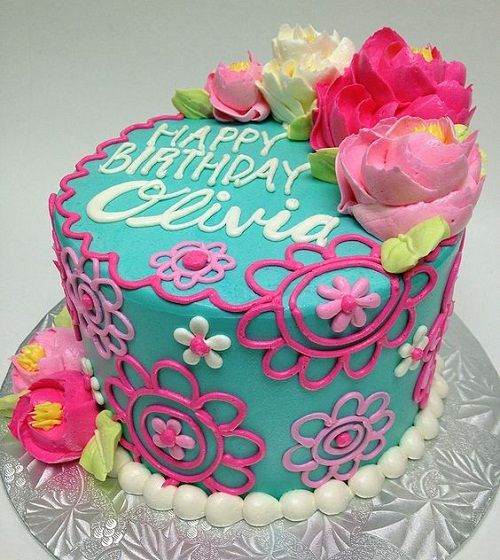 Buttercream Flowers Birthday Cake For Girl