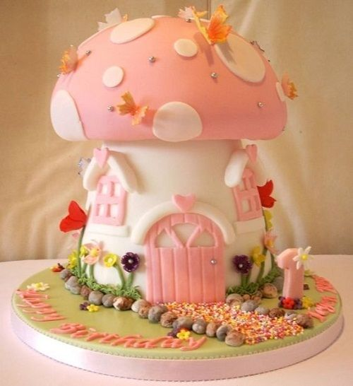 Mushroom House Birthday Cake For Girls