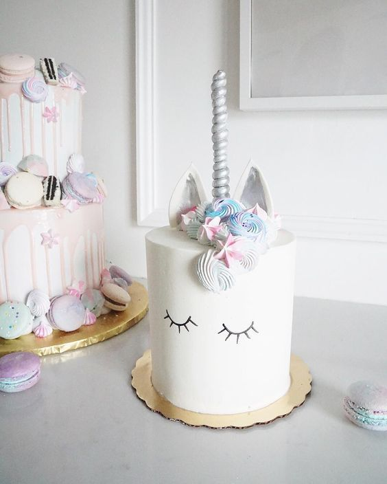Simple Sleeping Unicorn Birthday Cake