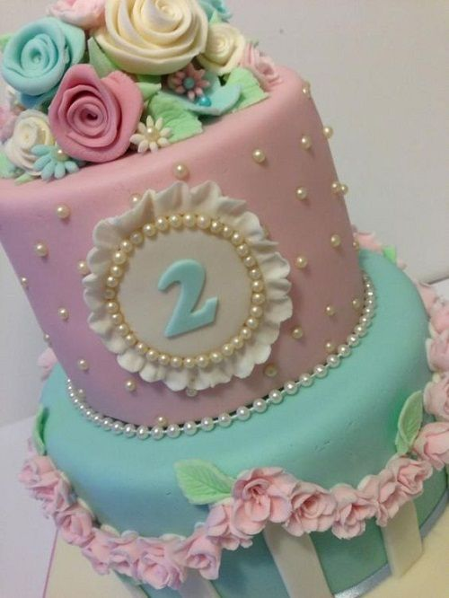 Flowers And Pearls Cake For 2nd Birthday