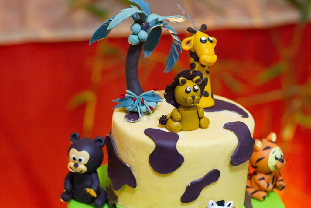 birthday cake with animal designs