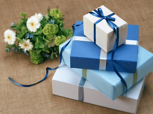 gifts in layer and a flower
